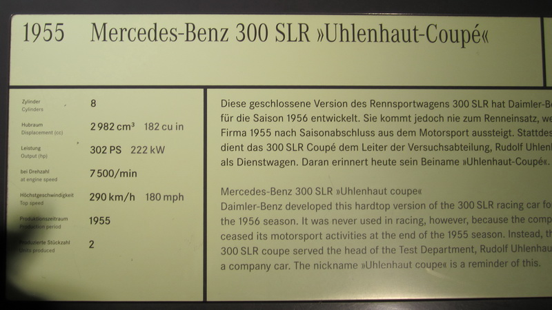 Mercedes-Benz 300 SLR, Uhlenhaut-Coupe, Baujahr 1955
